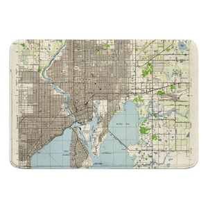 Tampa, FL (1944) Topo Map Memory Foam Bath Mat