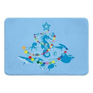 Sea Life Christmas Tree Memory Foam Bath Mat