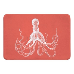 Vintage Octopus Memory Foam Bath Mat - White on Coral