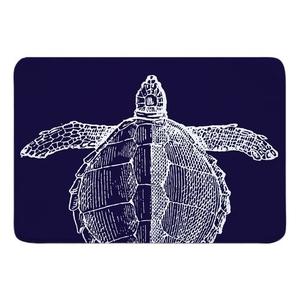Vintage Sea Turtle Memory Foam Bath Mat - White on Navy