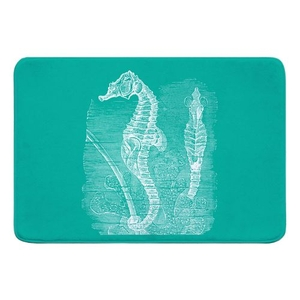 Vintage Seahorse Memory Foam Bath Mat - White on Aqua