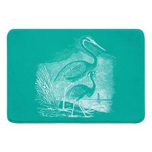 Vintage Egrets Memory Foam Bath Mat - White on Aqua