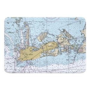 Key West, FL Nautical Chart Memory Foam Bath Mat