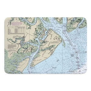 Hilton Head Island, SC Nautical Chart Memory Foam Bath Mat