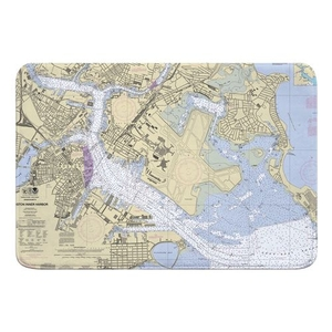 Boston, MA Nautical Chart Memory Foam Bath Mat