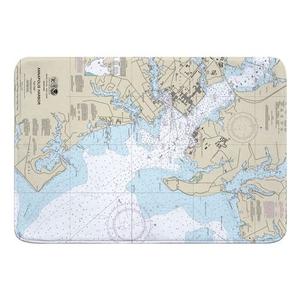 Annapolis, MD Nautical Chart Memory Foam Bath Mat