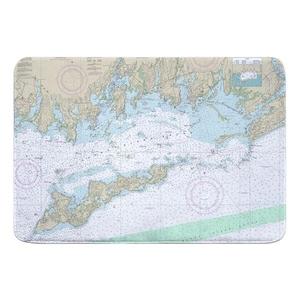 Fishers Island Sound, CT-NY Nautical Chart Memory Foam Bath Mat
