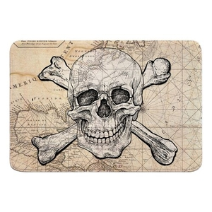 Skull & Crossbones Old World Nautical Chart Memory Foam Bath Mat
