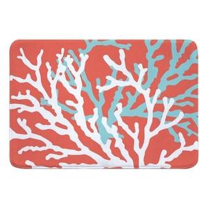 Coral Duo on Coral Memory Foam Bath Mat
