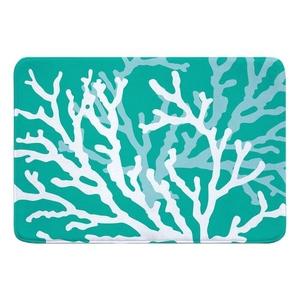 Coral Duo on Aqua Memory Foam Bath Mat