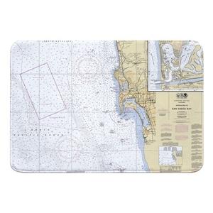 San Diego, CA Nautical Chart Memory Foam Bath Mat
