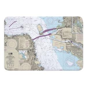 San Francisco, CA Nautical Chart Memory Foam Bath Mat