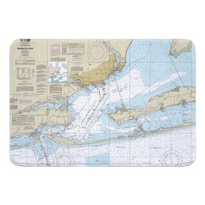 Pensacola Bay, FL Nautical Chart Memory Foam Bath Mat