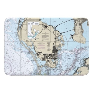 St. Petersburg, FL Nautical Chart Memory Foam Bath Mat