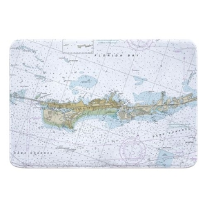 Vaca Key Marathon, FL Nautical Chart Memory Foam Bath Mat