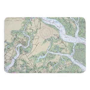Beaufort & Ladys Island, SC Nautical Chart Memory Foam Bath Mat