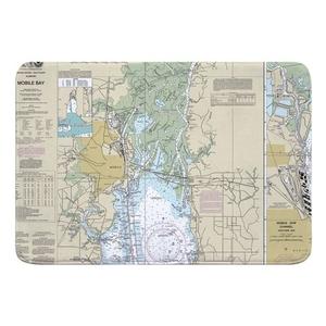 Mobile, AL Nautical Chart Memory Foam Bath Mat