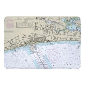 Gulfport, MS Nautical Chart Memory Foam Bath Mat