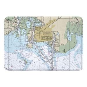 Pascagoula, MS Nautical Chart Memory Foam Bath Mat