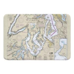 Puget Sound SOUTHERN, WA Nautical Chart Memory Foam Bath Mat