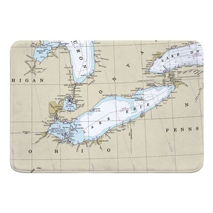 Lake Erie Nautical Chart Memory Foam Bath Mat