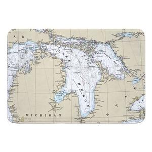 Lake Huron Nautical Chart Memory Foam Bath Mat