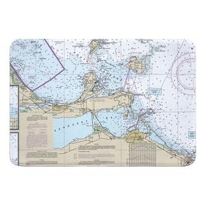 Port Clinton, Catawba Island, Sandusky, OH Nautical Chart Memory Foam Bath Mat