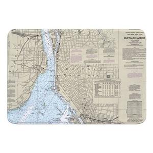 Buffalo Harbor, NY Nautical Chart Memory Foam Bath Mat