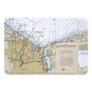 Rochester, NY Nautical Chart Memory Foam Bath Mat