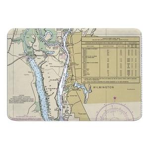 Wilmington, NC Nautical Chart Memory Foam Bath Mat