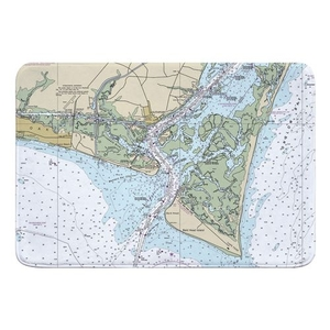 Oak Island, Southport, Bald Head Island, NC Nautical Chart Memory Foam Bath Mat