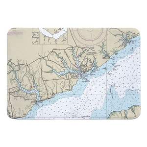 Oriental, NC Nautical Chart Memory Foam Bath Mat
