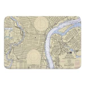 Philadelphia, PA & Camden, NJ Nautical Chart Memory Foam Bath Mat