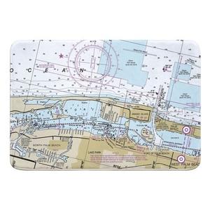 Lake Worth Inlet, Singer Island, Palm Beach, FL Nautical Chart Memory Foam Bath Mat
