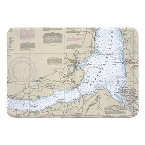 Edenton, NC Nautical Chart Memory Foam Bath Mat