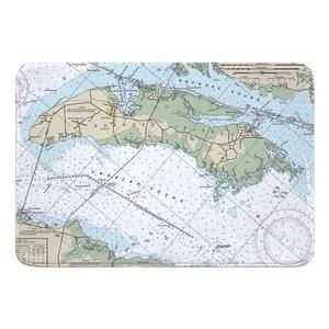 Roanoke Island, NC Nautical Chart Memory Foam Bath Mat