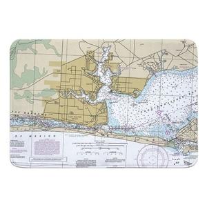 Fort Walton Beach, FL Nautical Chart Memory Foam Bath Mat