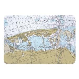 Miami Beach, FL Nautical Chart Memory Foam Bath Mat