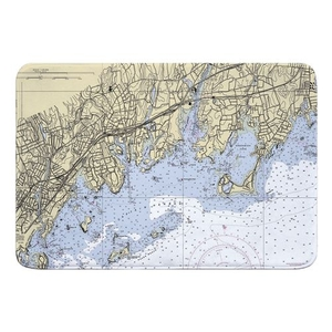 Greenwich, CT Nautical Chart Memory Foam Bath Mat
