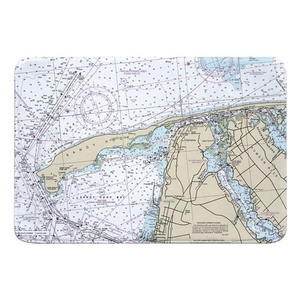 Sandy Hook, NJ Nautical Chart Memory Foam Bath Mat