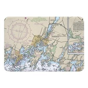 Mystic, CT Nautical Chart Memory Foam Bath Mat