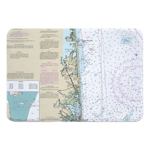 Bethany Beach, DE Nautical Chart Memory Foam Bath Mat