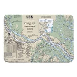 Savannah, GA Nautical Chart Memory Foam Bath Mat