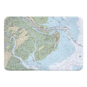 Tybee Island, GA Nautical Chart Memory Foam Bath Mat
