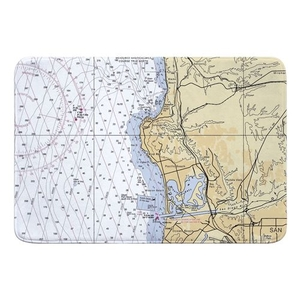 La Jolla, Pacific Beach, CA Nautical Chart Memory Foam Bath Mat