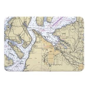 Tacoma, WA Nautical Chart Memory Foam Bath Mat