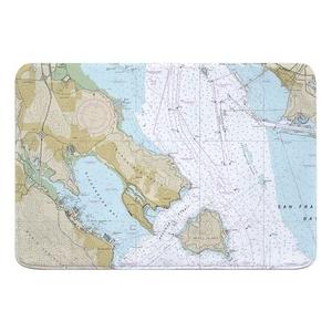 Tiburon Peninsula, Angel Island, CA Nautical Chart Memory Foam Bath Mat