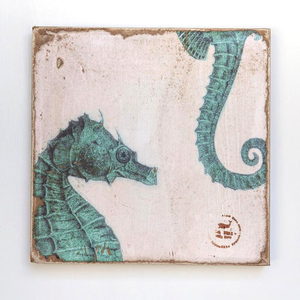 Sea Horses Zoom Teal Lithograph Art