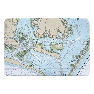 Harkers Island, NC Nautical Chart Memory Foam Bath Mat