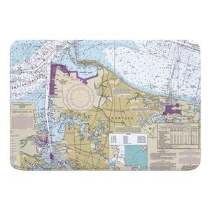 Norfolk, VA Nautical Chart Memory Foam Bath Mat